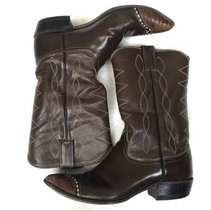 Justin boots cowboy brown leather reptile toe 8.5